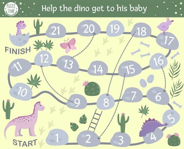 Educatief prehistorisch bordspel met reptielen, stenen, cactus. help de dino om bij zijn baby te komen. bordspel met dinosaurusthema voor kinderen. Premium Vector