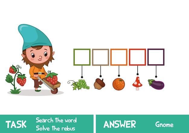 Educatief puzzelspel voor kinderen vind het verborgen woord gnome vector illustration