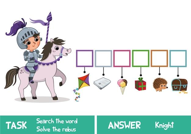 Educatief puzzelspel voor kinderen vind het verborgen woord knight vector illustration