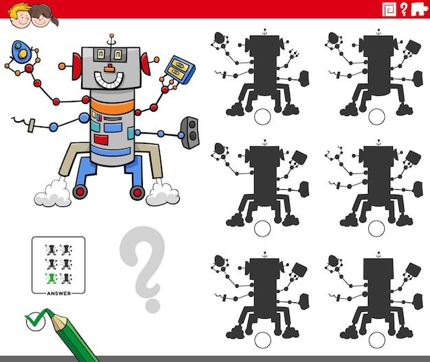 Educatief schaduwen spel met robot stripfiguur