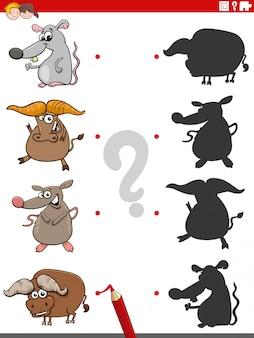 Educatief schaduwspel met dierlijke karakters