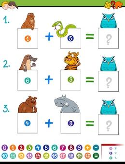 Educatief spel met wiskunde en dieren