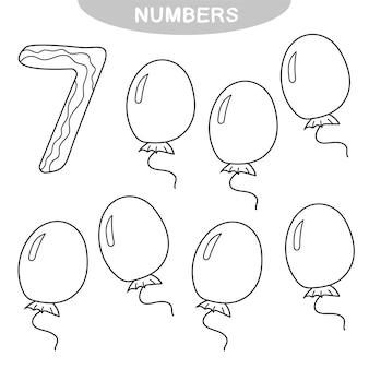 Educatief spel - nummers leren. nummer zeven. kleurboek voor kleuters. zeven ballonnen