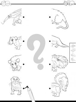 Educatief spel van bijpassende helften met kleurenboek voor dieren