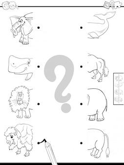 Educatief spel van het matchen van dierenhelften