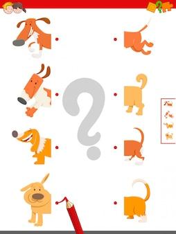 Educatief spel van het matchen van helften van honden