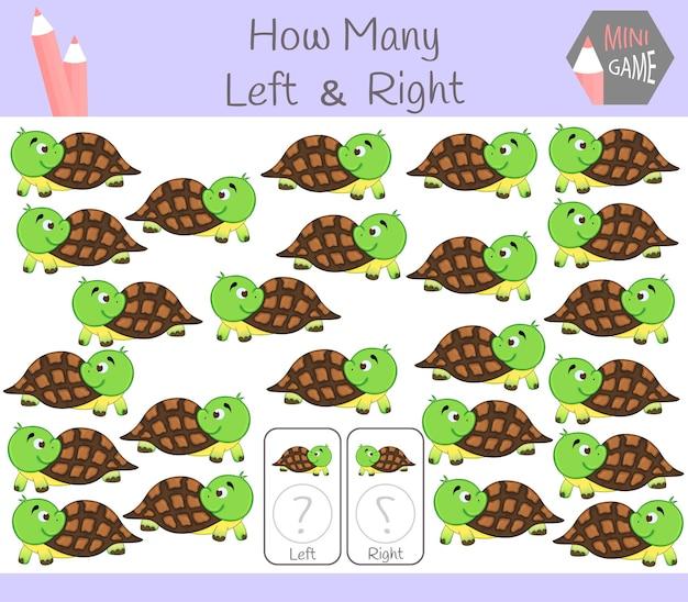 Educatief spel van het tellen van links en rechts georiënteerde afbeeldingen voor kinderen met schildpad.