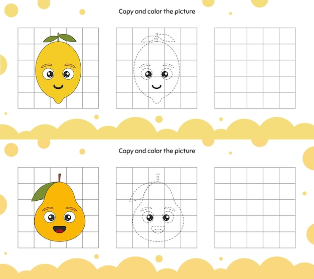 Educatief spel voor aandacht voor kinderen in de kleuterschool en voorschoolse leeftijd. herhaal de illustratie. kopieer en kleur de afbeelding. fruit.