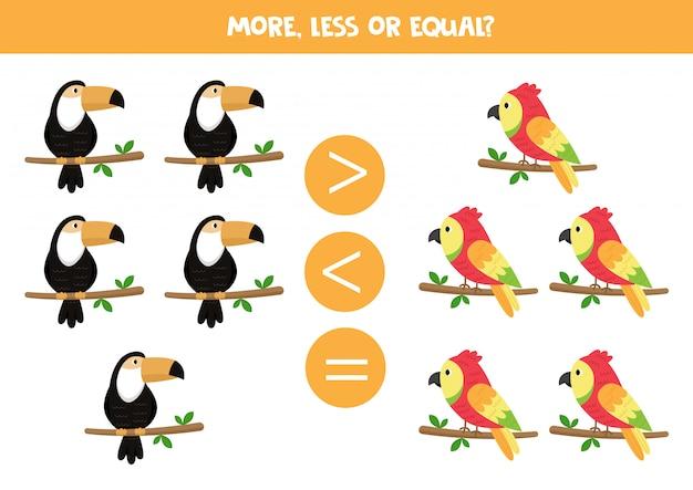 Educatief spel voor kinderen. wiskunde voor kinderen. toekan en papegaai.