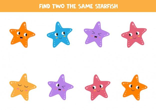 Educatief spel voor kinderen. zoek twee identieke zeesterren.