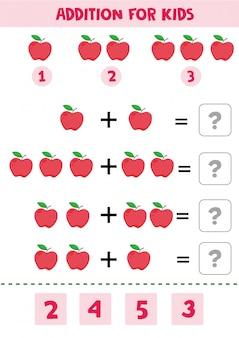 Educatief spel voor wiskundekinderen met appels voor kinderen.
