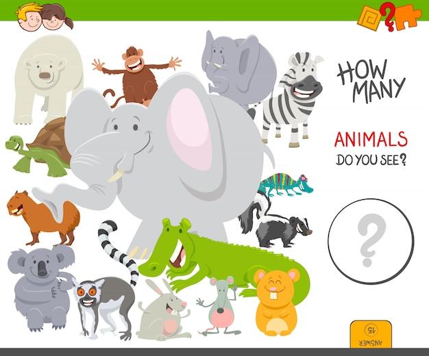 Educatief tellen spel voor kinderen met dieren