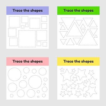 Educatief tracing werkblad voor kinderen kleuterschool, kleuterschool en schoolleeftijd.