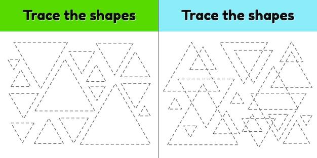 Educatief tracing werkblad voor kinderen kleuterschool, voorschoolse en schoolleeftijd. trek de geometrische vorm na. stippellijnen. driehoek.