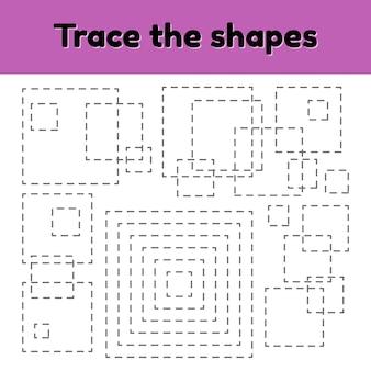 Educatief tracing werkblad voor kinderen kleuterschool, voorschoolse en schoolleeftijd.