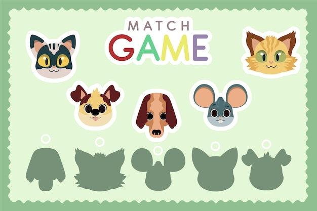 Educatief wedstrijdspel voor kinderen met dieren Gratis Vector