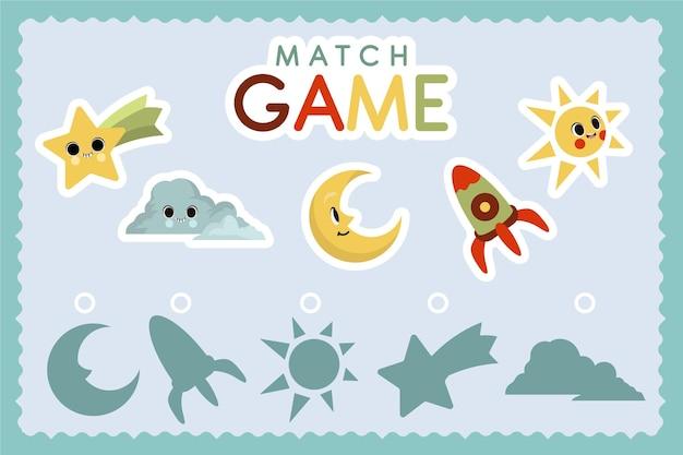 Educatief wedstrijdspel voor kinderen Gratis Vector