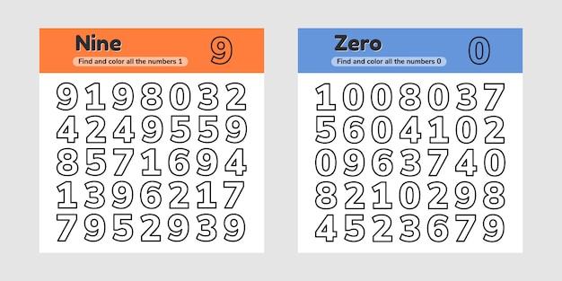 Educatief werkblad instellen voor kinderen, kleuterschool, voorschoolse en leerplichtige leeftijd. getallen. zoek en kleur.