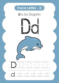 Educatief werkblad voor alfabetten met de letter d dolphin
