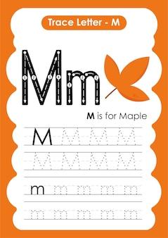 Educatief werkblad voor alfabetten met de letter m maple
