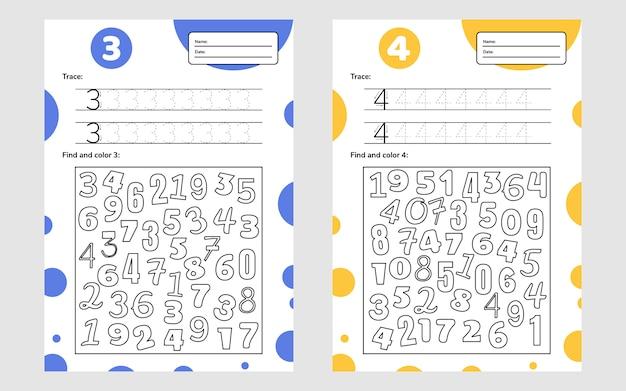 Educatief werkblad voor kleuters en schoolkinderen. nummer spel voor kinderen. traceren, zoeken en kleuren. drie vier.