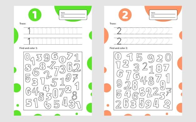Educatief werkblad voor kleuters en schoolkinderen. nummer spel voor kinderen. traceren, zoeken en kleuren. een twee.