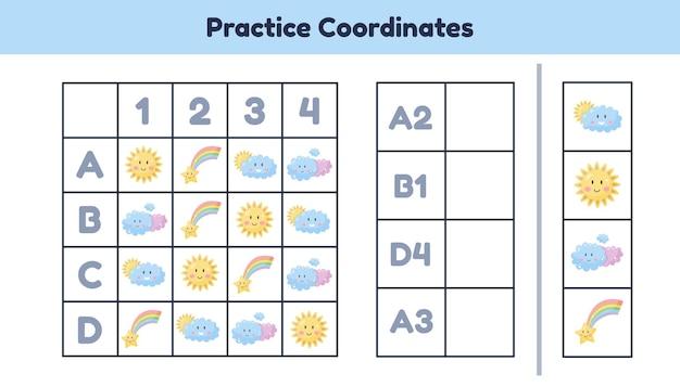 Educatief wiskunde werkblad voor kinderen, kleuterschool, kleuterschool en leerplichtige leeftijd oefen coördinaten