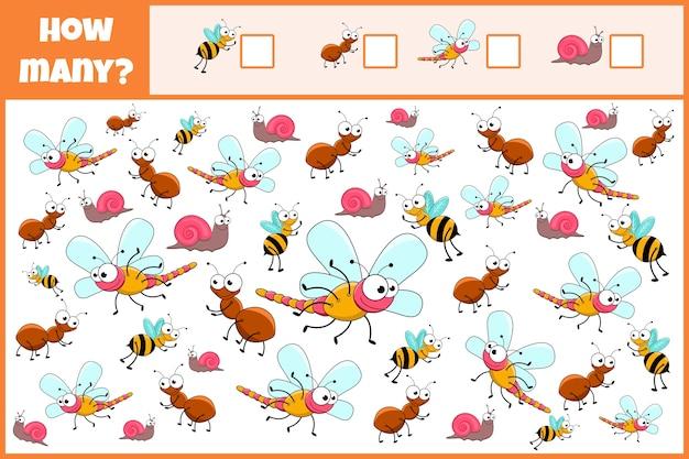 Educatief wiskundig spel. tel het aantal insecten.