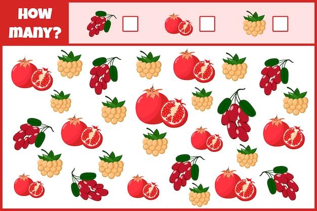 Educatief wiskundig spel. tel het aantal vruchten.