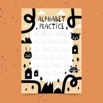 Educatieve alfabet traceringssjabloon voor kinderen