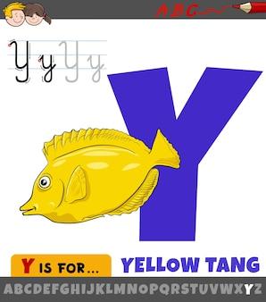Educatieve cartoon afbeelding van letter y uit alfabet met gele tang vis dierlijk karakter