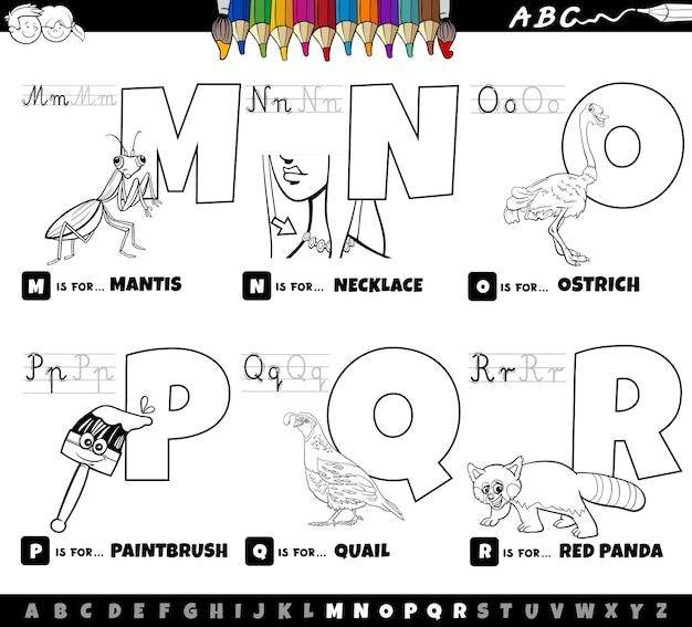 Educatieve cartoon alfabetletters ingesteld van m tot r kleurboekpagina