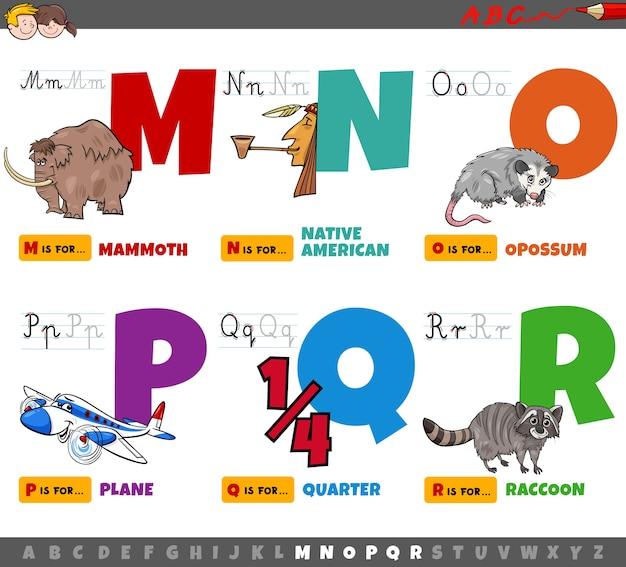 Educatieve cartoon alfabetletters ingesteld van m tot r.