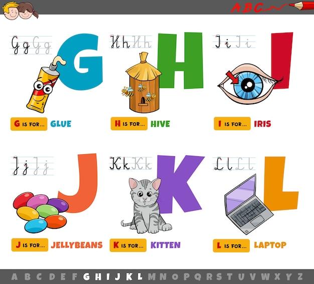 Educatieve cartoon alfabetletters instellen voor kinderen in de elementaire leeftijd