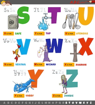 Educatieve cartoon alfabetletters voor kinderen ingesteld van s tot z