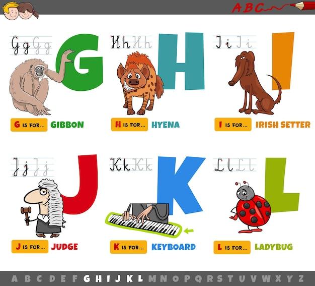 Educatieve cartoon alfabetletters voor kinderen van g tot l.