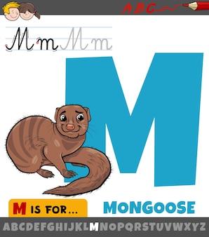 Educatieve cartoon illustratie van de letter m uit het alfabet met mangoest