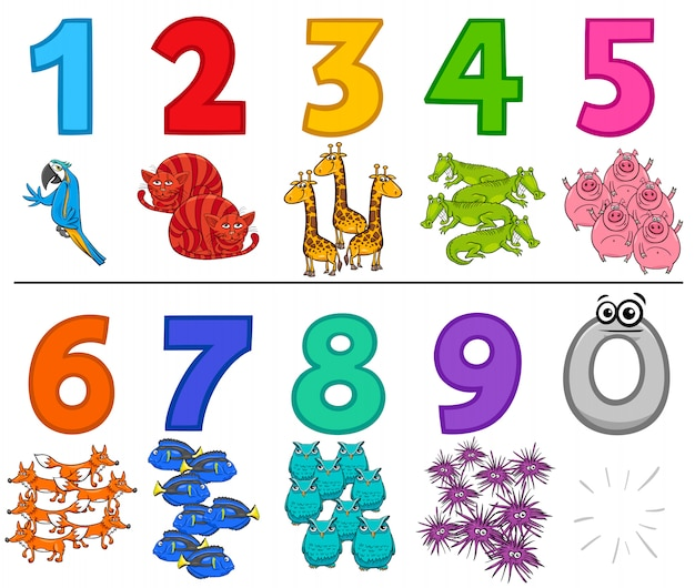 Educatieve cijfers stel een tot negen in met dieren