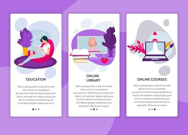 Educatieve cursussen voor studenten en leerlingen, online bibliotheekbasis voor het leren en studeren van disciplines