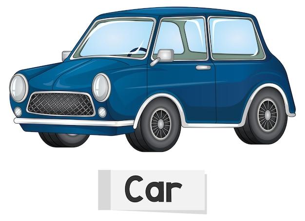 Educatieve engelse woordkaart van auto