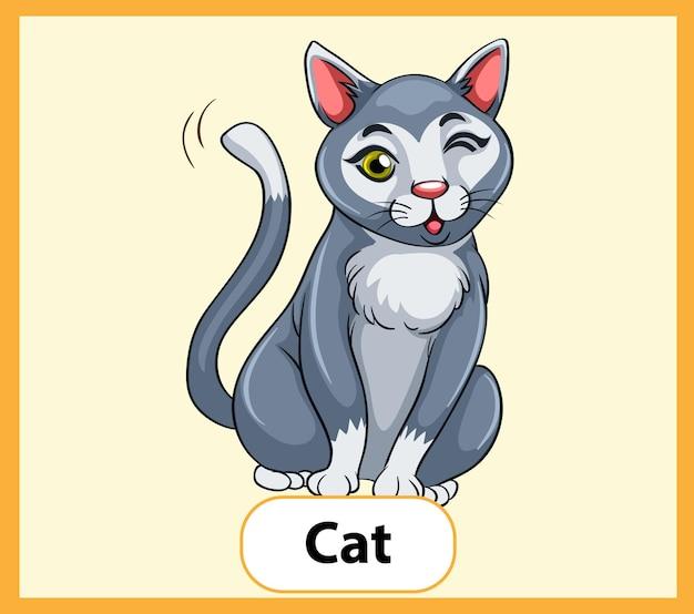 Educatieve engelse woordkaart van cat