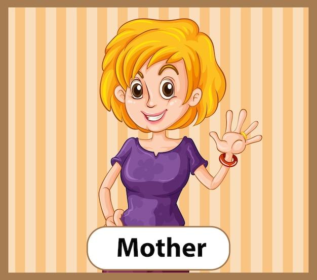 Educatieve engelse woordkaart van moeder