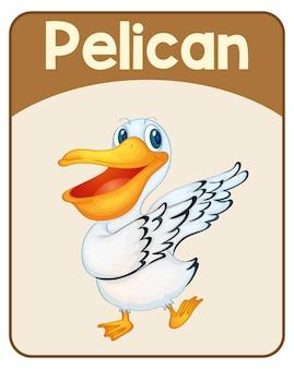 Educatieve engelse woordkaart van pelican