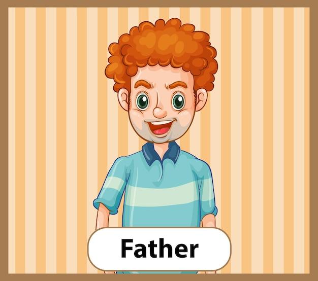 Educatieve engelse woordkaart van vader