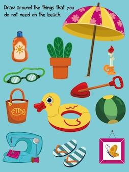 Educatieve quiz voor kinderen met alledaagse en strandvoorwerpen vectorillustratie