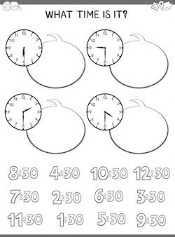 Educatieve spelletjes vertellen met klok met wijzerplaat voor kinderen