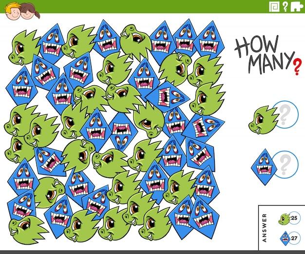 Educatieve taak voor monsterpersonages tellen voor kinderen