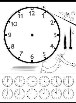 Educatieve telling time-pagina voor kinderen