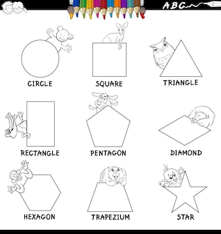 Educatieve vormen met dieren kleurenboek