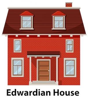 Edwardiaans huis op witte achtergrond